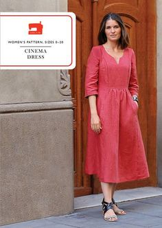 Liesl + Co. Cinema Dress Sewing Pattern - This relaxed-fit dress pattern features a front and back yoke, V-notch neckline, and back button closure. Both views have easy-to-sew welt pockets and cuffed, three-quarter-length. I Am Patterns, Dress Making Patterns, Sewing Patterns, Sewing Ideas, Digital Cinema, Sewing Clothes, Dress Sewing, Make Your Own Clothes, Linen Dresses