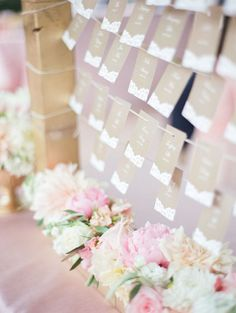Glamorous wedding reception escort card display idea; photo: Hannah Suh Photography