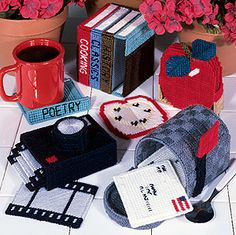 Plastic canvas coaster sets- basket patterns- Coaster kits - apple pattern