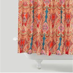 bright colors in a more traditional paisley pattern... Trending in Bathroom Decor: Bohemian Shower Curtains from Bathroom Bliss by Rotator Rod