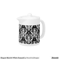 Elegant Black & White Damask Teapot