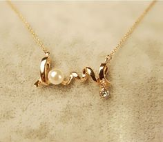 Fashion Women's Rose Gold Plated Crystal Pearl LOVE Pendants Necklaces Jewelry #BrandNew #ClassicRomantic