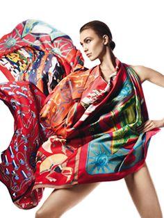 """Folle de soie, Scarves in vintage silk, 70x70 cm: """"Coach d'Hermès"""", """"Swing"""", """"Les Sportives"""", """"Cordages"""", """"Un amour de cheval"""". Play with your Hermès scarf with the Silk Knots app! hermes.com/silkknots #Hermes #Silk #SilkKnots"""