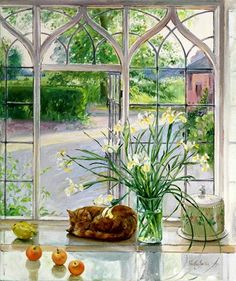 Painting of cat in the window. Timothy Easton
