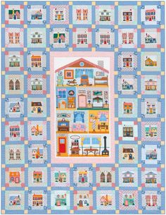 """Penny's Neighborhood"" pattern designed by Darlene Zimmerman. Uses Penny's Dollhouse by Darlene Zimmerman. FREE pattern."
