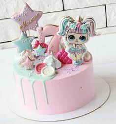 Doll Birthday Cake, Funny Birthday Cakes, Birthday Party Treats, Fondant Cakes, Cupcake Cakes, Fruit Cakes, Bolo Sofia, Lol Doll Cake, Surprise Cake