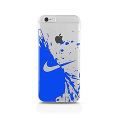 New Nike BLUE - Clear Case Custom Case Iphone 4 4S 5 5S 5C 6 + Samsung S6