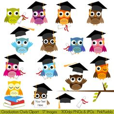 Graduation Owls Clipart Clip Art, Education School Owls Clipart Clip Art - Commercial and Personal