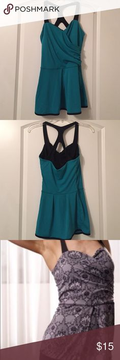 Karma Athletics Cleo Tank Karma Athletics Cleo tank in gorgeous teal color. Light/medium support with built in bra. Perfect for barre/yoga/Pilates. Very good condition, worn maybe 5 times. Karma Athletics Tops Tank Tops