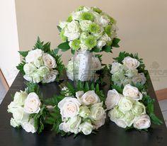 Bouquet de novia y damas ,rosas vendela con yoko verde #TROPICA FLORERIA