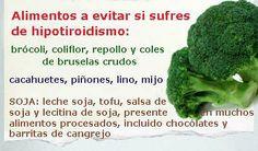 Alimentos a evitar si sufres de hipotiroidismo. Algunos cuando se cocinan pierden sus efectos goitrógenos como el brócoli, pero otros como el mijo no. http://www.terapiaclark.es/adelgazar.htm