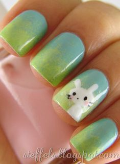 Ombre Easter Nail Designs with Bunny, Easter Bunny Nails, Holiday Nail Art