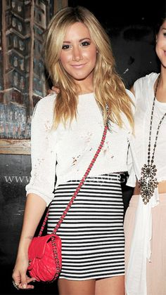 Ashley Tisdale loves her rare Chanel 2011C Red Quilted Calfskin Chain Around Small Bag