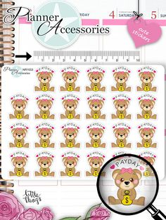 Kawaii PayDay Stickers Cute Bear Stickers Pay von EmelysPlannerShop