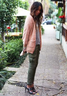 I'm a sucker for cargo skinnies, but I really love that they are paired here with a cardigan in such a pretty blush shade—not to mention the sequin top and gorgeous heels.