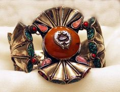 Vintage Tibetan Trumpet Bracelet | Repoussee Tibetan Silver, Turquoise, Coral and Old Mila Amber
