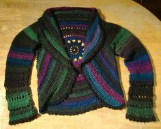 "Ravelry: Project Gallery for 132-2 ""Wild Flower"" - Crochet jacket worked in a circle in ""Nepal"" pattern by DROPS design"