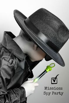 """My little man loves to play """"spy on the adults"""". We have to pretend we don't see his fingers or toes sticking out from under the table or. Spy Birthday Parties, Spy Party, Agent 007 James Bond, Detective Costume, Secret Agent Party, Halloween Apples, Diy For Kids, Celebrities, Kid Birthdays"""