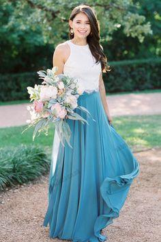 b9ba02b5a48 Two Pieces White Lace Top Elegant Chiffon A-Line Sleeveless Floor-Length  Bridesmaid Dress