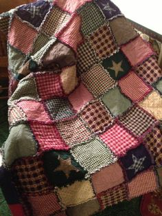 Homespun and Cotton Rag Quilt Very Large Throw Size Flannel Backed Beautiful Navy, Hunter and Burgandy Primitive Look Handmade. $170.00, via Etsy.