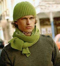 Салатовая шапка и шарф | Вязание мужское | Вязание спицами и крючком. Схемы вязания.
