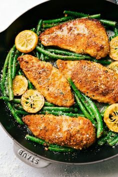 One Skillet Lemon Parmesan Chicken and Veggies: delicious and quick to make; 30-minute meal with little clean-up! Great for serving to company!
