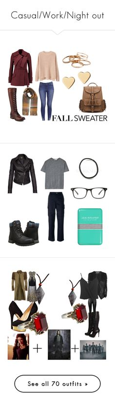 """""""Casual/Work/Night out"""" by emma-esselmark ❤ liked on Polyvore featuring MANGO, Frye, Proenza Schouler, Miss Selfridge, Kendra Scott, Lipsy, Caterpillar, T By Alexander Wang, A.P.C. and Barbour International"""