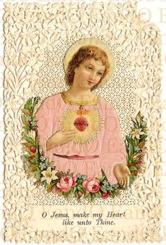 Exceptional Rare Antique 19th Century Paper Lace and Die Cut Victorian Era Holy Card - Sacred Heart of Jesus