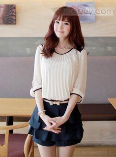 韓国可愛い丸のネックプリーツシフォンシャツ  (10455302)