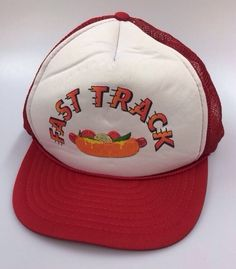 Vintage Trucker Mesh Snapback Hat Cap Fast Track Hot Dogs Novelty Red White EUC #Cap