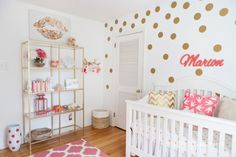 Coral, Gold, and White Nursery