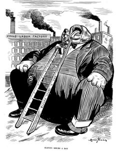 This is a political cartoon about J.P Morgan. He was a big banker who was in charge of a financial business called J.P Morgan & CO. People say that he dominated the corporate finance business and industrial consolidation. This is an example of the big business. This has to do with what we are learning about because it has to dowith the big businesses and labor forces.