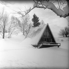 A-frame cabin in winter