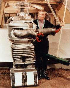 Lost in Space, Robot and Jonathan Harris (Dr. Zachary Smith).  I bet they are bickering.