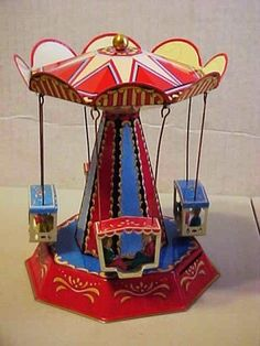 Carousel Toy Beautiful Working Reproduction 1960'S