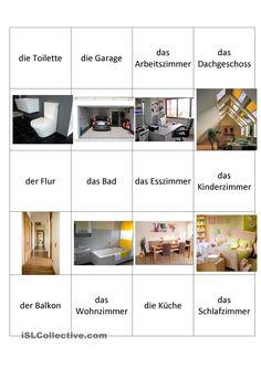 Wortschatz zum Thema Wohnung (read top down, and disregard the bottom where the pic are missing.)