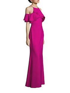 Badgley Mischka - Cold-Shoulder Ruffle Gown