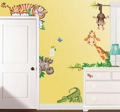 "Wandtattoo 21 Sticker FX-Room ""Dschungel Tiere"" Tiger, Giraffe, Affe, Krokodil | eBay"