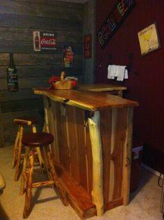 Wood bar and stools.