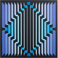 Jean-Pierre YVARAL (1934-2002) STRUCTURE RAYONNANTE BV, 1972 Acrylique sur toile