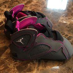 Baby girls Airl Jordans sz 3c crib shoe Adorable gray and pink baby girl Jordans in size 3c crib shoe. Jordan Other