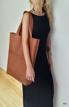 Large Leather Tote BagShopper Handstitched  High by toxleather, $165.00