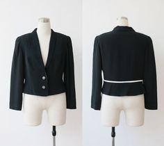 1980s vintage Oberson designer cropped black jacket Large