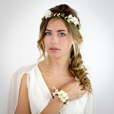 Couronne de fleurs ivoire et rose: Louise - Mariage