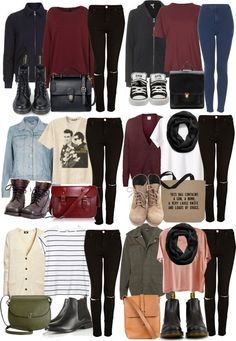 Outfit for six days of the week | prepared outfit | maroon/burgundy clothing | knitted sweaters