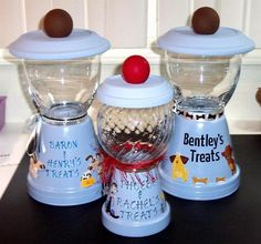 Dog & Cat treat Jars made from clay pots & glass bowls