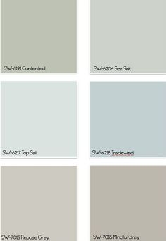 Interior Design IdeasCoastal Colors for any home any style: Sherwin Williams SW6191 Contented. Sherwin Williams SW6204 Sea Salt. Sherwin Williams SW6217 Top Sail. Sherwin Williams SW6218 Tradewind. 7015 Re[pse Gray. Sherwin Williams SW7016 Mindful Gray.