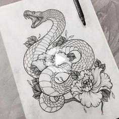 Tattoo Art Schlange Blumen Zeichnung omg tho # Schlange Blumen - Your dream wedding and venue organization, Your dream wedding and venue organization Neue Tattoos, Body Art Tattoos, Sleeve Tattoos, Tatoos, Snake Drawing, Snake Art, Snake Outline, Drawing Art, Drawing Ideas