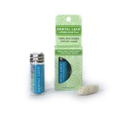 Dental lace - compostable dental floss in reusable glass container... I've been searching for something like this! Can't wait till this is back in stock so that I can try it