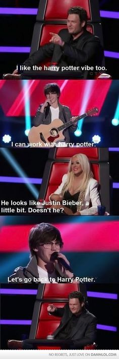 The Voice. I like the Harry potter vibe. I can work with Harry Potter. He looks a little like Justin Bieber. Let's go back to Harry potter. Justin Blake, Doug Funnie, Haha, Harry Potter Jokes, Funny Harry Potter Pictures, Funny Photos, Have A Laugh, Just For Laughs, Bullshit